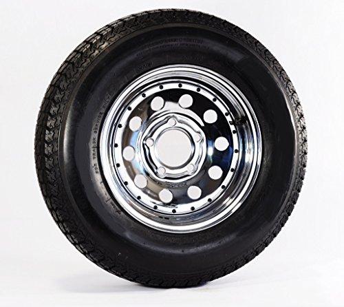 Radial Trailer Tire On Rim ST205/75R14 LRC 5 Lug Chrome Modular Wheel w/Rivets