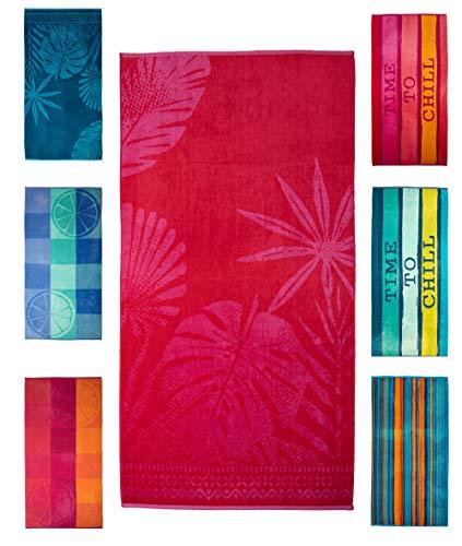 Strandtuch, Strandtücher 90x180 cm Baumwolle Frottee Velours Badetuch, Badetücher Blatt Pink