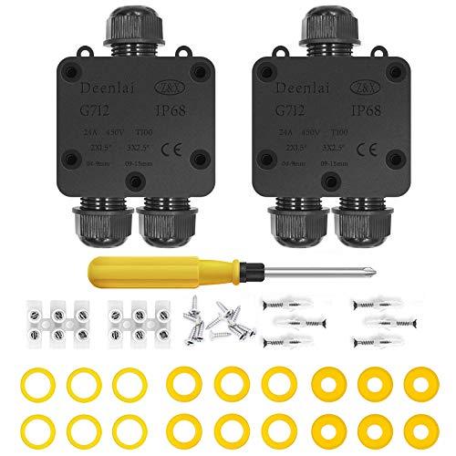 Cajas de Empalmes,IP68 Caja de Conexiones Impermeable Eléctricas para 4 mm-14 mm Diámetro del Cable,Conector Exterior Cable (2 Pack)