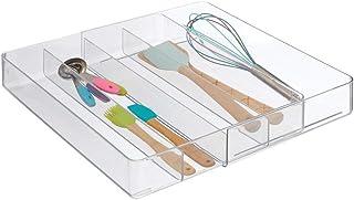 mDesign Organizador de cubiertos para la cocina – Cubertero extensible con 5 compartimentos de plástico – Bandeja organizadora de cajones para cubiertos, cucharas y otros utensilios – transparente