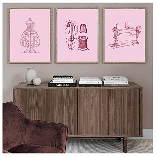 kaxiou Drucke Bilder Wandkunst Poster Mode Zeichnungen Nähmaschine Nordischen Stil Leinwand Malerei Für Schlafzimmer Home Decoration-40X60Cmx3 Pcs Kein Rahmen