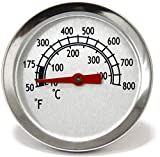 Hongso Heat Indicator 1.8 Inches Grill Thermometer Barbecue Replacement for Char-Broil Grills and BBQ Smokers, Grill Temp Temperature Gauge for Barbecue Cooking, TG800