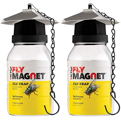 SEWANTA Victor M380 [Set of 2] Reusable Outdoor Fly Traps 32 oz - Fly Magnet Bait Trap - Bundled with 4 Bait Refills of Victor M383 and 2 Hanging Chains (Set of 8)