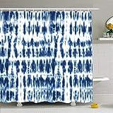 N/A Duschvorhang, 182,9 x 182,9 cm, altblau, Batik Shibori-Technik, Batik, abstraktes Material, Marineblau, Indigogefärbt, wasserabweisend, Polyesterstoff, Badezimmer-Vorhang-Set mit Haken