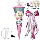 alles-meine.de GmbH mit _ 3-D Effekt - Glitzer ! _ Schultüte -  Flamingo & Blumen - gepunktet  - 85 cm - eckig - incl. individueller _ großer Schleife - mit Namen - Organza Abs..