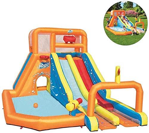 NMDD Castillos hinchables Gorilas inflables Juguetes acuáticos inflables para niños Tobogán acuático Zona de Juegos con Piscina para Escalar y soplador de Aire 505 * 340 * 265 cm