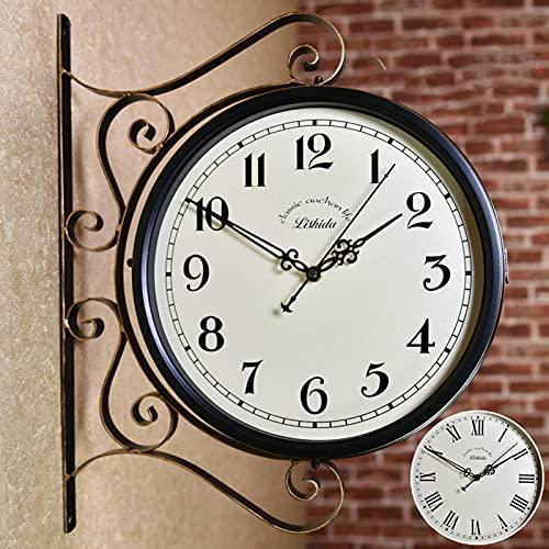 CHENGL Outdoor-Garten-Wanduhr,30cm-Doppelseitige Outdoor-Uhren Vintage Klassisches Design Wetterfestes Gehäuse für Garten Im Freien zu Hause