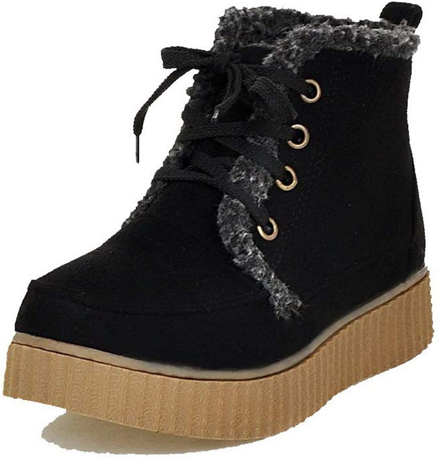WeiPoot Women's Frosted Ankle-High Solid Lace-Up Low-Heels Boots, EGHXH123949