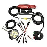Cola E-Bici Trasera de la Linterna de la Bicicleta eléctrica Light Group Luz Delantera Luz Cuerno Conjunto Negro