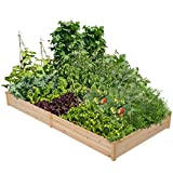 Yaheetech Wooden Outdoor Raised Garden Bed Elevated Wood Planter Garden Box Kit for Flowers/ Vegetables/ Herbs in Backyard/ Patio Planting Box Kit Natural Wood 92.3 x 47.4 x 10 in
