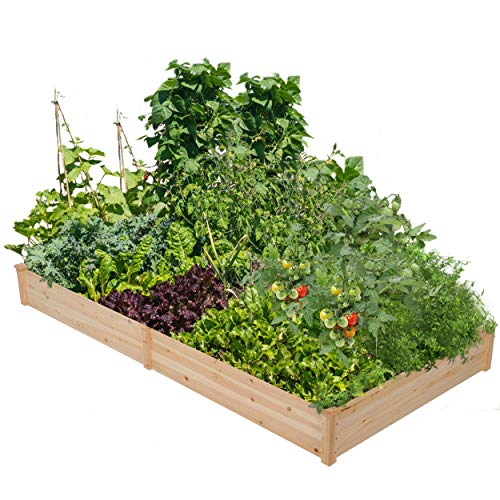 YAHEETECH Wood Raised Garden Bed Boxes Kit Elevated Flower Bed Planter Box for Vegetables Natural...
