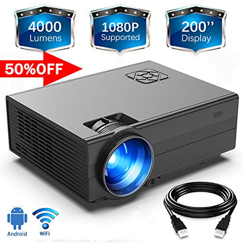 """HD 4000Lux WiFi Projector,GIMISONIC Video Projector 1080P Supported with 200"""" Display 60000Hrs LED Portable Projector, Compatible with TV Box, PS4, HDMI,"""