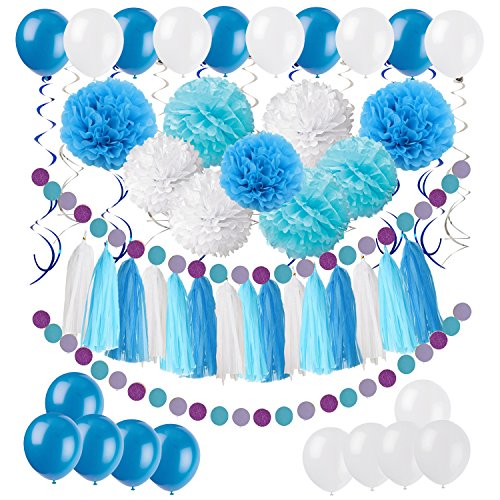 ZERODECO DIY Paper Pom Poms with Tissue Paper Tassel, Polka Dot Garland, Hanging Swirl Decorations and Balloon Kit for Birthday Wedding Showers Party Decorations - Purple (Blue)
