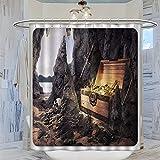 Cortina de ducha de 183 x 183 cm con fantasía, cofre del tesoro abierto con oros y espada en cueva, diseño de pirata, color gris antracita, con 12 ganchos de plástico, lavable