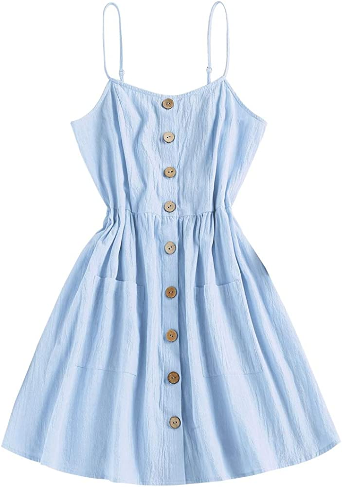 ZAFUL Women's Mini Dress Spaghetti Straps Sleeveless Boho Beach Dress