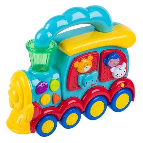 Prepdro - Juego interactivo en forma de tren preescolar, multicolor con sonidos y luces para niños, 24 x 8 x 22 cm