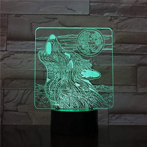 Lámpara de ilusión 3D Luz de noche Led Lobo Luna rugiente Operada por USB Efectos visuales Regalo Teens Luminari Lámpara de mesa