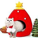 PowerKing Casa para gatos, decoración de Navidad, casa para perrito con cama, cojín para mascotas, interior para mascotas, gato y cachorro (rojo)