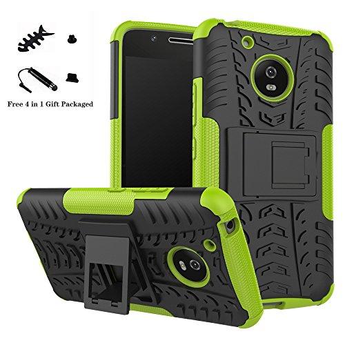 LiuShan Moto G5 Hülle, Dual Layer Hybrid Handyhülle Drop Resistance Handys Schutz Hülle mit Ständer für Motorola Moto G5 Smartphone (mit 4in1 Geschenk verpackt),Grüne