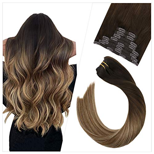 Ugeat Clip in Hair Extensions 16inch Straight Remy Clip in Human Hair Extensions Balayage Ombre Color #2 Fading to Brown with Blonde 10PCS Clip on Hair Extensions