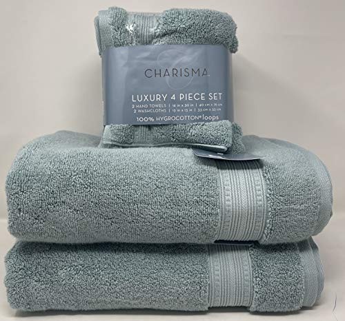 Charisma Plush Towels Bundle | Includes: 2 Luxury Bath Towels, Hand Towels & Washcloths | Quality, Ultra Soft Towel Set | 6 Pieces (Aqua Seaform)
