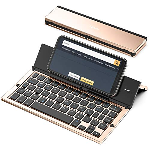 Geyes Foldable Bluetooth Keyboard, Wireless USB Rechargeable Ultra Slim Portable folding Keyboard for IOS Android Windows Smartphone Tablet and Laptop(Gold)