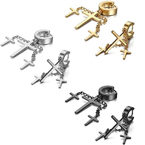 JewelryWe Dames Punk Stijl 3 Kruisen Ketting Draad Hoop Oorbellen Oorbellen roestvrij staal, Zilver, Goud en Zwart