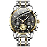 SUNVEN Men Watches Waterproof Quartz - Business Wristwatch Gold Stainless Steel Sapphire Face