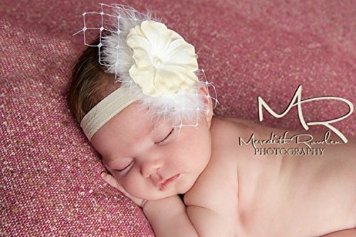 Feather Headband for Baby Girl Floral Elastic Hairband Infant Hair Accessories