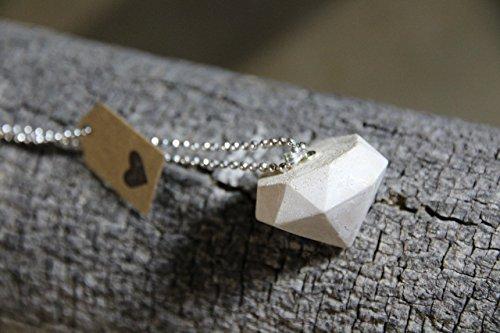 Diamond Shape Pendant Concrete Cement Handmade Designer Jewelry 28' Necklace Gift White Cream Geometric Modern 2017 2018