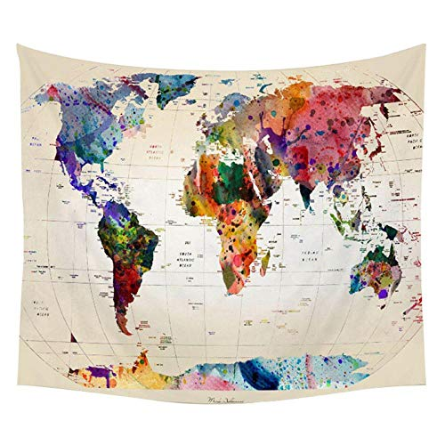 Mapa del mundo Tapiz Mapa de alta definición Tela Decoración para colgar en la pared Mapa de acuarela Carta Poliéster Cubierta de mesa Yoga Toalla de playa 150x100cm