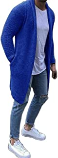 Howely Men Open Front Capes Sweater Pockets Long Sleeve Knitting Cardigan