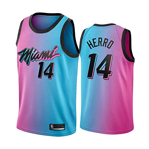 Jersey De Baloncesto Masculino - NBA Miami Heat # 14 Tyler Herro, Ventiladores Camiseta Camiseta Transpirable Malla Sin Mangas Sin Mangas Cuello Redondo Sports Jersey,Blue Pink,M(170~175cm)