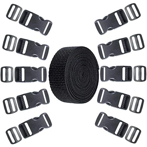 1-Inch Webbing Strap Kit - 20 Flat Side Release Buckles - 20 Tri-Glide Slides - 1 Roll 5 Yards Nylon Webbing Straps - DIY, Luggage Straps, Pet Collars, Backpacking, and Repairs