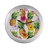 JOCHUAN Kleine runde Wanduhr Hawaiian Seamless Pineapples Hibiscus Flowers Clock für Wand 9,65 Zoll Silber Quarzrahmen Dekor für Büro/Schule/Küche/Wohnzimmer/Schlafzimmer