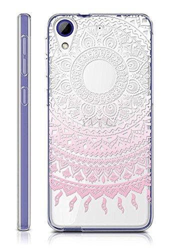 Sunrive HTC Desire 650/628 / 626 / 626G Hülle Silikon, Transparent Handyhülle Schutzhülle Etui Hülle Backcover für HTC Desire 650/628 / 626 / 626G(TPU Blume rosa)+Gratis Universal Eingabestift