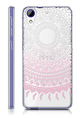 Sunrive HTC Desire 650/628 / 626 / 626G Hülle Silikon, Transparent Handyhülle Schutzhülle Etui Case Backcover für HTC Desire 650/628 / 626 / 626G(TPU Blume rosa)+Gratis Universal Eingabestift