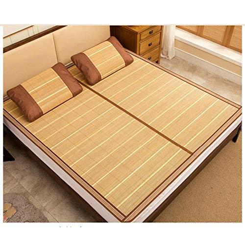 PIVFEDQX Ropa de Cama de enfriamiento Estera de bambú Colchón para Dormir Topper Funda de colchón Almohada Dormitorio Plegable con Funda de Almohada 5 Tamaños (Tamaño: 1.5X1.95M)