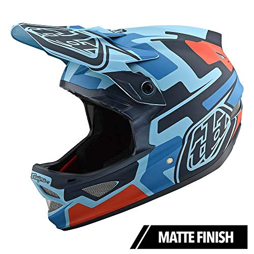 Troy Lee Designs Adult Full Face | BMX | Downhill | D3 Fiberlite Speedcode Mountain Biking Helmet with MIPS (X-Large, Blue/Black)