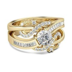 ✿【Inspiration】: This gold wedding ring set with unique and beautiful design, this modern-look rings set will capture your heart at first sight! Crafted in yellow gold tone sterling silver, the engagement ring features a glistening 6mm round center st...