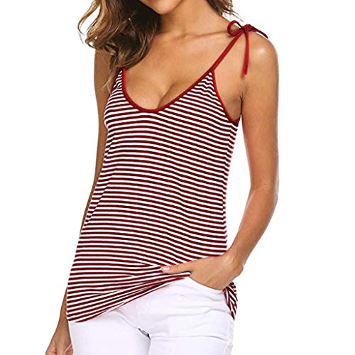 iYmitz Sommer Heißer Damen Sport Bluse T-Shirts V-Ausschnitt Spaghetti Basic Krawatte Knoten Gestreift Camisoles Rückenfrei Muskelshirt Für Frauen Mädchen