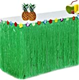 King Luau Green Grass Table Skirt - 9ft x 29in Luau Table Skirt   Raffia Fringe Party Decoration for Tiki Tropical Hawaii or Moana Themed Birthday, Graduation or Costume Party   Hawaiian Table Skirt