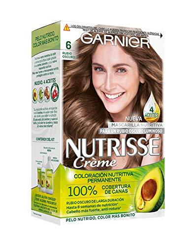 Garnier Nutrisse Creme Coloración Nutritiva Permanente, Tinte 100% Cobertura de Canas con Mascarilla Nutritiva de 4 Aceites - Tono 6 Rubio Oscuro