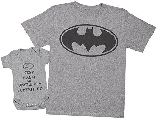 Keep Calm My Uncle is A Superhero - Ensemble Tontons bébé Cadeaux - Hommes T Shirt & Barboteuse - Gris - Large & 0-3 Mois