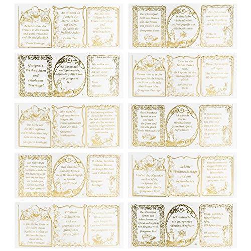 Ideen mit Herz Gravur-Sticker, transparent/Gold, 10 Bogen à 10 x 23 cm | Goldene Aufkleber zum Basteln & Dekorieren | Geburtstag, Weihnachten, Rente & mehr (30 Sprüche Gesegnete Weihnachten)