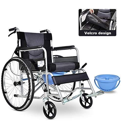 Cajolg Rollstuhl Faltbar,Abnehmbares Sitzkissen,Mit Töpfchen hohe tragfähigkeit Erwachsene Rollstühle,Rollator Faltbar Leichtgewicht,Standardwithcushion