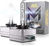 Mega Racer D3C/D3R/D3S HID Headlight Bulb - 6000K Diamond White 35W 8000 Lumens High Low Beam Xenon Light Metal Stents IP68 Waterproof, Pack of 2