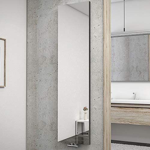 Schulte H034010 57 Heizkörper New York mit Spiegel, 180 x 45 cm, 50 mm Mittelanschluss, anthrazit, Wohnraumheizkörper für Zweirohr-System