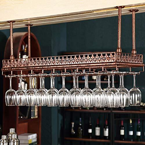 XWZJY Estantes rústicos para Copas, Soporte para Botellas de Vino para Colgar en el Techo, Estante para Copas de Vino, de Metal, Ajustable en Altura (Color: Negro, Bronce)