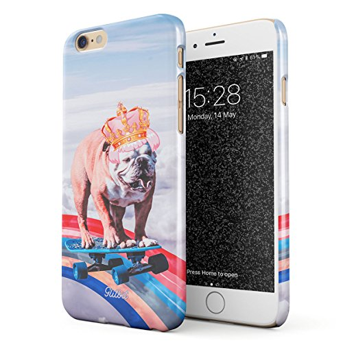 Glitbit Compatible with iPhone 6 / 6s Case French Bulldog Flying Rainbow Dog Trippy Laser Unicorn Doggo Paw Funny Gift for Dog Lover Thin Design Durable Hard Shell Plastic Protective Case Cover